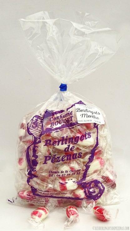 Sachet berlingots menthe 350g avec bonbons devant