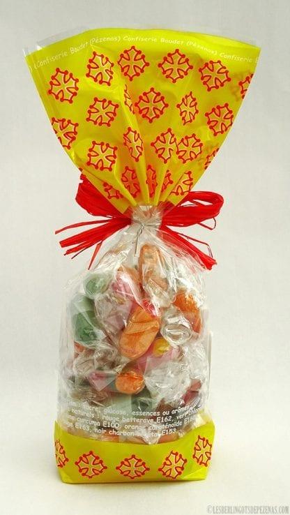 Sachet de berlingots aromes fruits du midi vu de dos