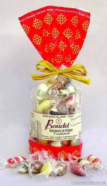 Sachet berlingots aromes traditionnels 210g avec poignée de berlingots