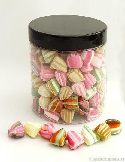 Pot berlingots à l'ancienne saveurs d'autrefois vu de dos avec bonbons devant 180g