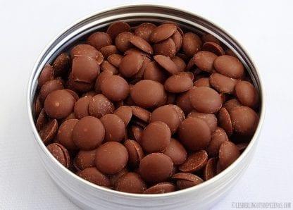 Boite aluminium caviar chocolat au lait vue de dessus