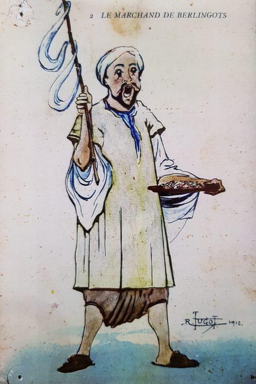 Dessin légende représentant un Africain portant un baton de sucre sur l'épaule.